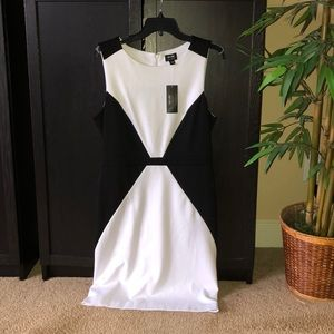 New Nicole Miller white black dress fitted L